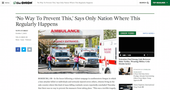 "Open ""'No Way to Prevent This' Says Only Nation Where This Regularly Happens"" by The Onion"
