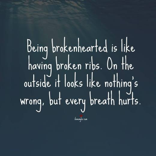 Being brokenhearted is like having broken ribs. On the outside it looks like nothing's wrong, but every breath hurts.