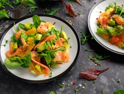 Fresh salmon salad with avocado, orange and green vegetables