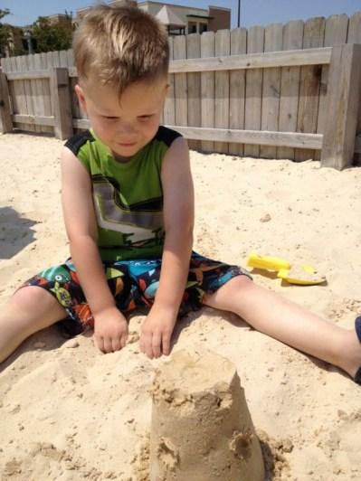 His 1st Sandcastle
