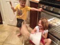 Baking with dog.