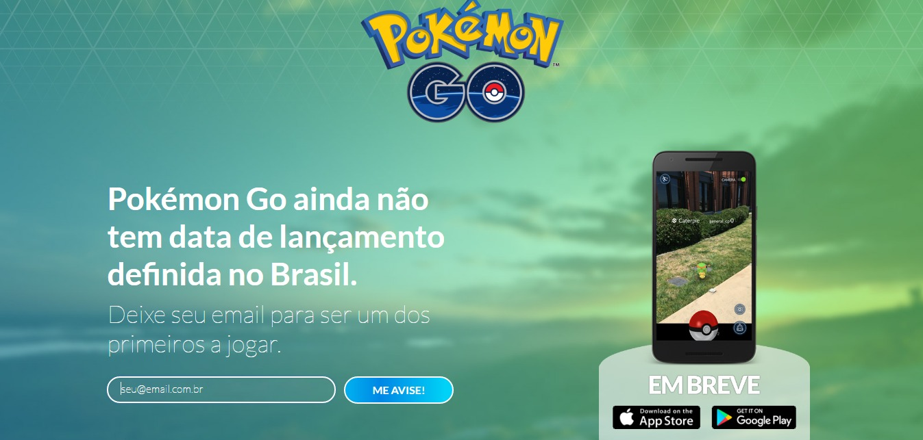 POKÉMON GO APLICATIVO AVISA QUANDO GAME FOR LANÇADO NO BRASIL
