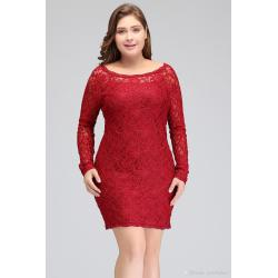 Sleek New Scoop Neckline Red Lace Short Cocktail Dresses 2018 Long Sleeves Miniparty Gowns Cheap Igigi Long Evening Dresses From New Scoop Neckline Red Lace Short Cocktail Dresses 2018 Long Sleeves wedding dress Cheap Cocktail Dresses