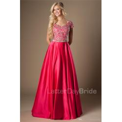 Fanciful Fuchsia G Appliques Long A Line Modest Prom Dresses Cap Sleevesclassic Length College Girls Formal Evening Wear Party Gowns Scalaprom Fuchsia G Appliques Long A Line Modest Prom Dresses Cap