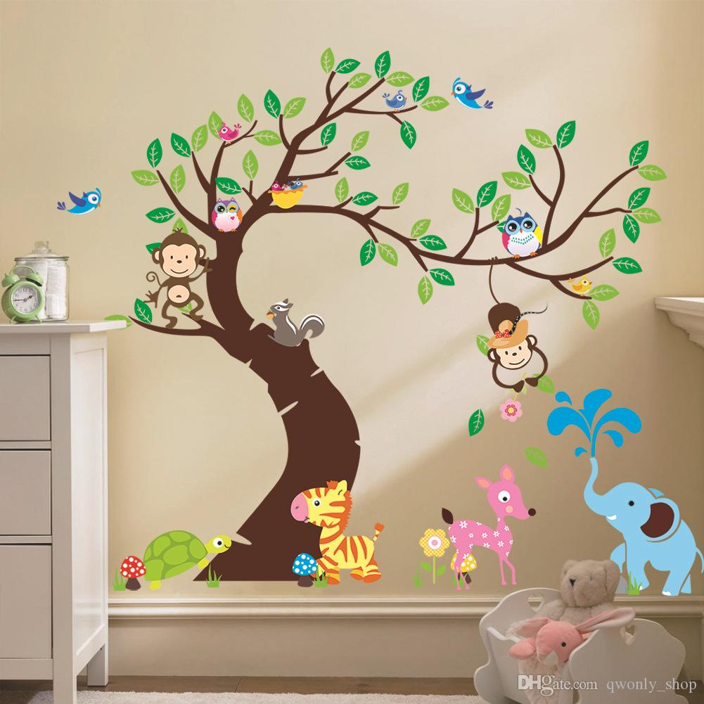 Lummy Oversize Jungle Animals Tree Monkey Owl Removable Wall Decal Stickersmuraux Nursery Room Decor Wall Stickers Kids Rooms Childrens Wall Decalschildrens Oversize Jungle Animals Tree Monkey Owl Rem houzz-03 Nursery Wall Decals
