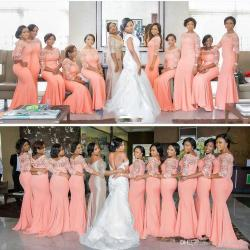 Terrific Light Orange Size Bridesmaid Dresses Illusion Long Honor Gowns Chiffon Wedding Guest Dresses Girls Bridesmaiddress Light Orange Size Bridesmaid Dresses Illusion Long Sleevemermaid Maid