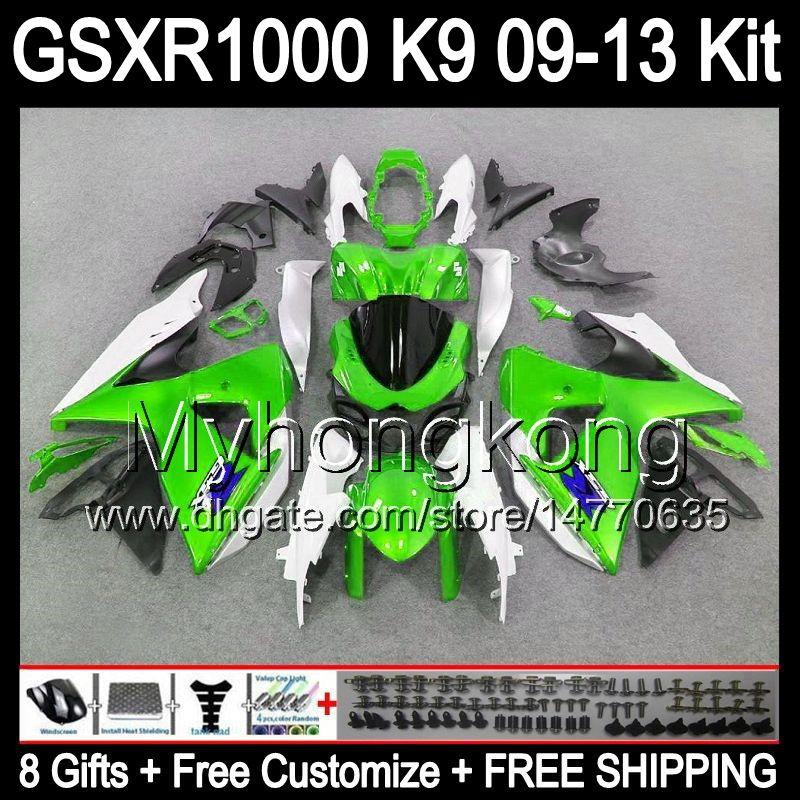 quality design f776b 70d94 இ 8gifts gloss verde Para SUZUKI GSXR1000 09 10 11 12 13 GSXR-1000 12MY61  GSX R1000 K9 GSXR 1000 2009 2010 2011 2012 2013 verde preto Carenagem - a862