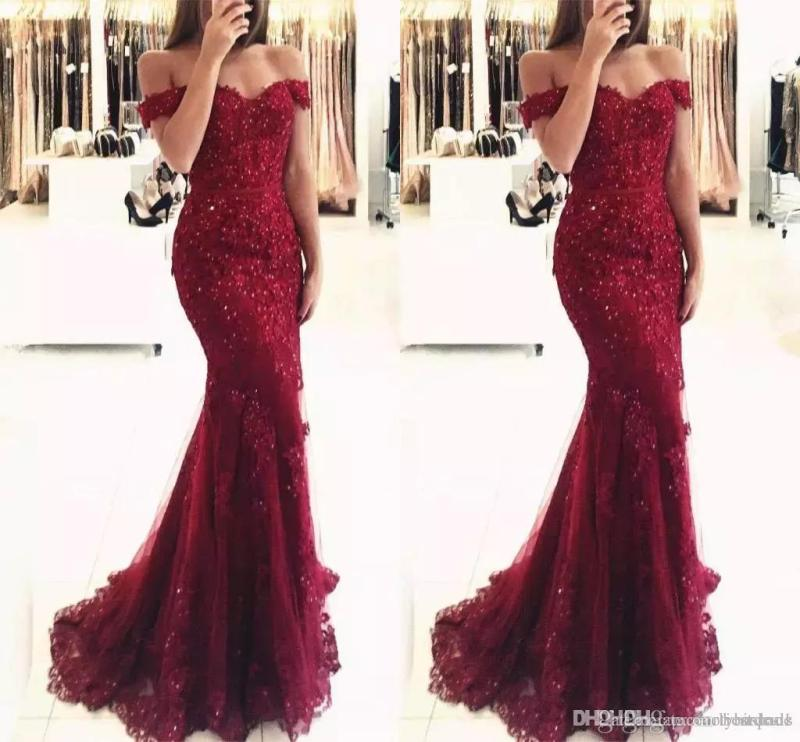 Hairy Burgundy Off Shoulder Beaded Lace Mermaid Prom Dresses Sleeves Length Formal Evening Gowns Vestido De Fiesta Prom Burgundy Off Shoulder Beaded Lace Mermaid Prom Dresses