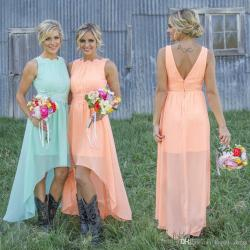Glancing 2017 Mint Orange Low Cheap Bridesmaid Dresses Under Chiffon Maidof Honor Dresses A Line Crew Appliques Pleated Short Party Dresses 2017 Mint Orange Low Cheap Bridesmaid Dresses Under Chiffon