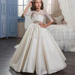 Elegant First Holy Communion Pageant Dress for Girls With Sleeves