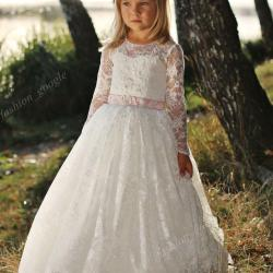 Fully Lace 1st Communion Dresses for Little Girls 2018 With Long