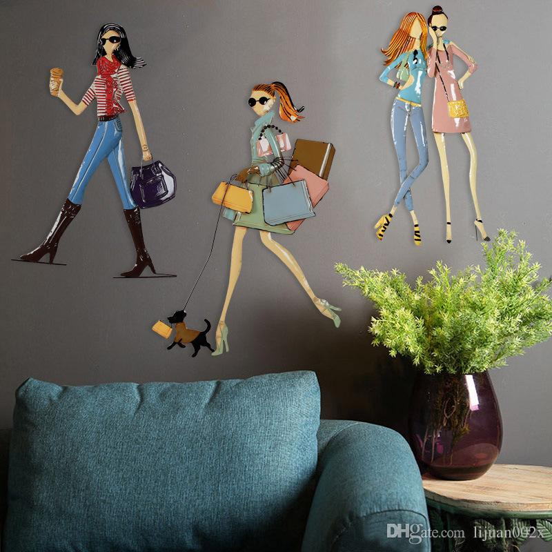 2018 Retro Old Cartoon Characters Wall Hanging Wall Decoration     2018 Retro Old Cartoon Characters Wall Hanging Wall Decoration Clothing  Store Wall Soft Ornaments Creative Fashion Girl Iron Painting From  Lijuan002x
