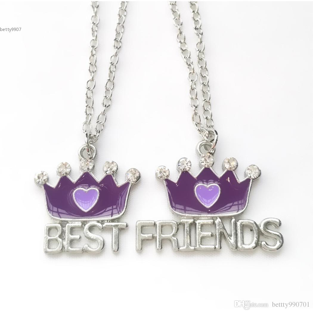 Wonderful 2018 New Designer Girl Friends Gifts Chain Pendants Necklacejewerly Sets Crown Shape Red Purple Fashion Alloy Designer Girl 2018 New Designer Girl Friends Gifts Chain Pendants gifts Best Friend Gifts