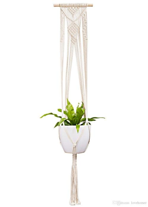 Indulging 2018 Macrame Plant Hanger Outdoor Hanging Planter Basket Cotton Ropewall Art Home Balcony Decoration Garden Supplies Inch From 2018 Macrame Plant Hanger Outdoor Hanging Planter Basket