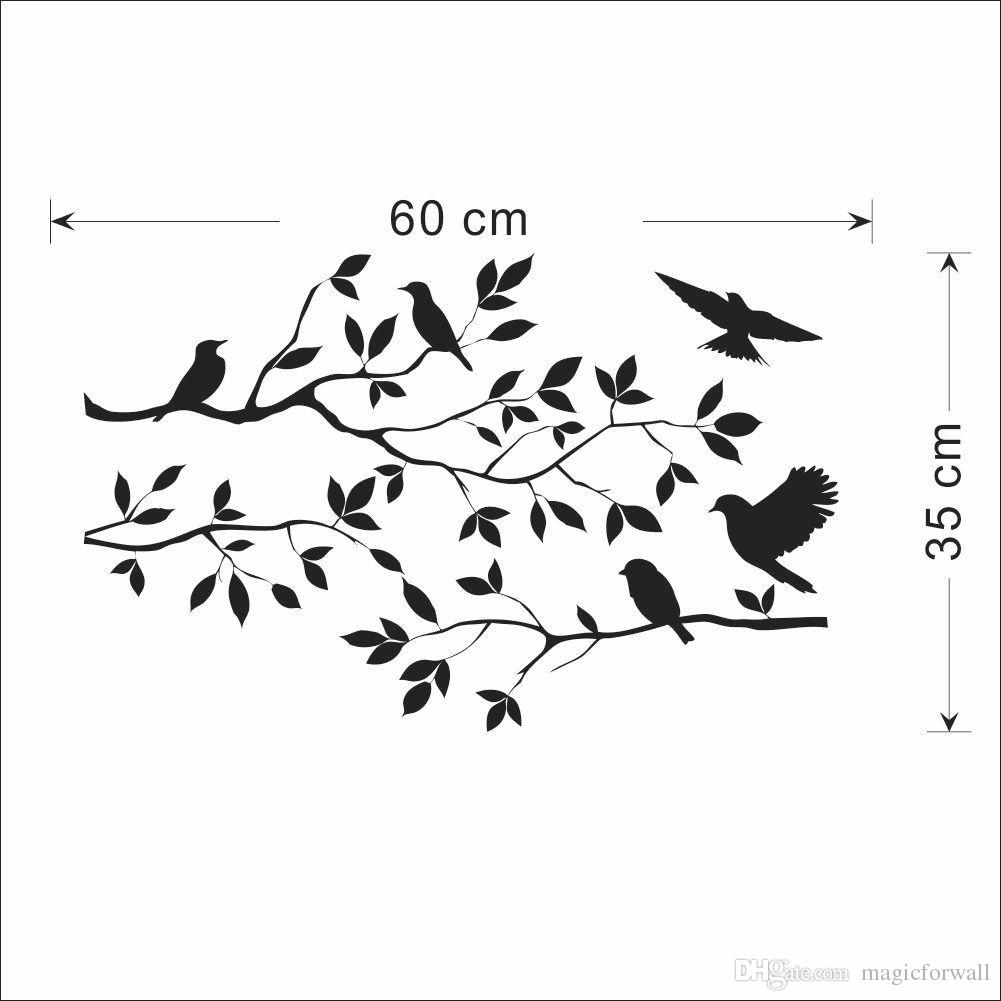 Stylized Tree Branch Leaves Wall Sticker Decal Removable Birds Black Bird Tree Branch Leaves Wall Sticker Decal Removable Birds On Branch Tree Art Black Bird houzz-02 Birds On A Branch