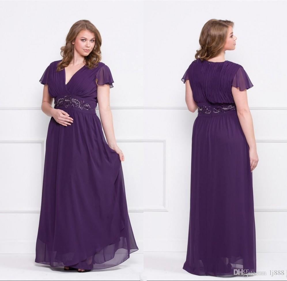 Neat Bride Dresses A Line V Neck Shortsleeves Beads Cover Purple 2017 Size Mor Size Mor Size Purple Dress Canada Purple 2017 Bride Dresses A Line V Neck Short Size Purple Maxi Dress wedding dress Plus Size Purple Dress