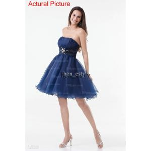 Fancy Navy Blue Cocktail Dresses Organza Strapless Zipper Sequin Crystal Beadinga Line Ruch Party Dresses Navy Blue Cocktail Dresses Organza Strapless Zipper Sequin Crystal