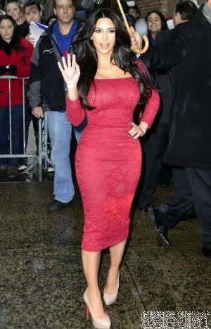 Celebrity Dresses Kim Kardashian Red Dress Celebrity Lace Cocktail Dress at Live with Kelly Show