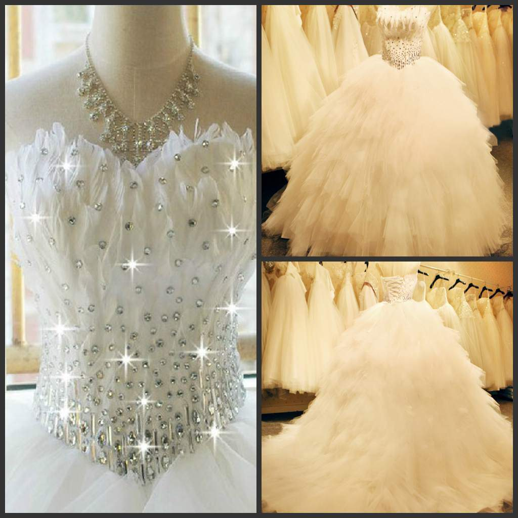 China Feather Wedding Dress Tulle Rhinestones Bridal Ball Gown H feathered wedding dress Feather Wedding Dress Tulle Rhinestones Bridal Ball Gown H