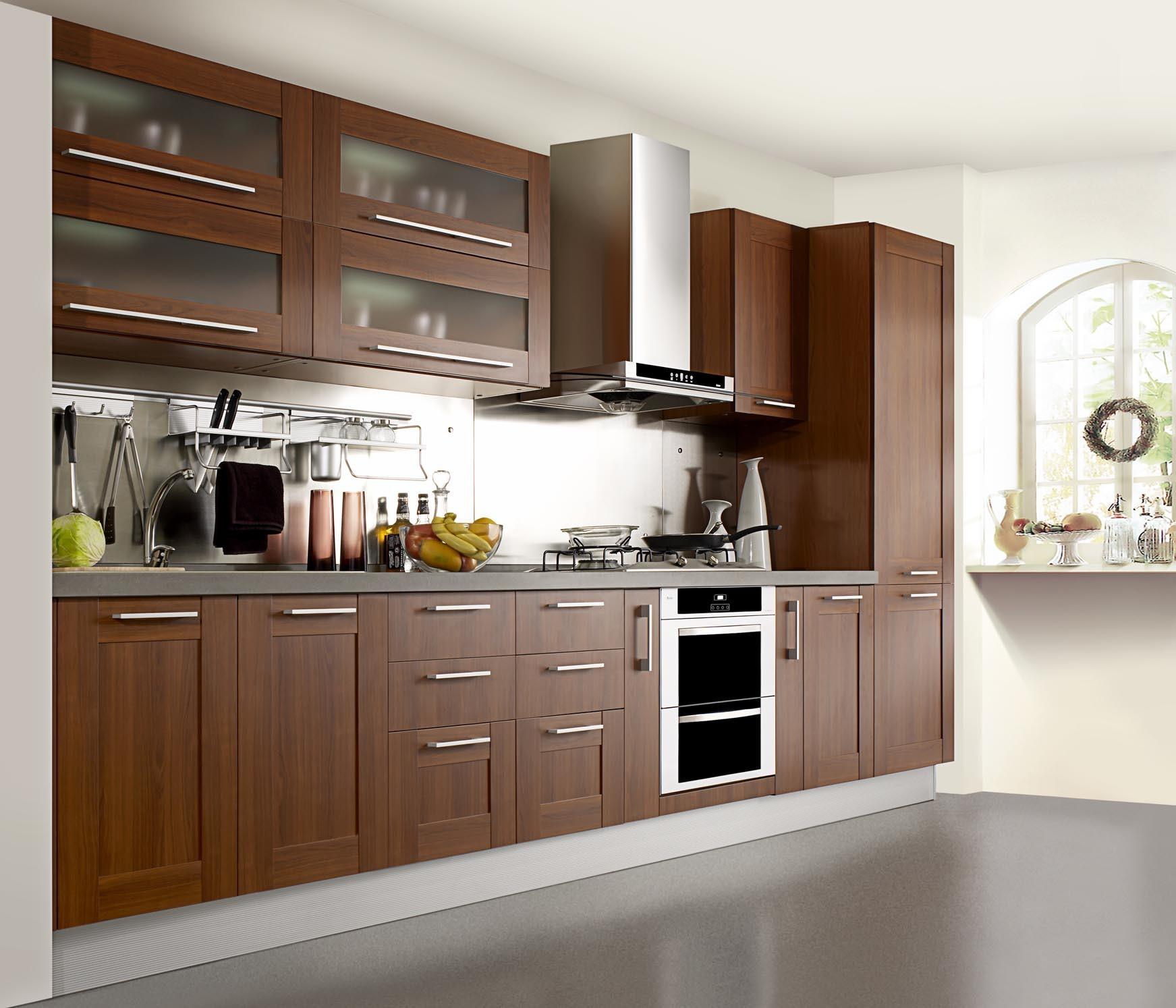 China Natural Oak Wood Veneer Kitchen Furniture solid wood kitchen cabinets Natural Oak Wood Veneer Kitchen Furniture