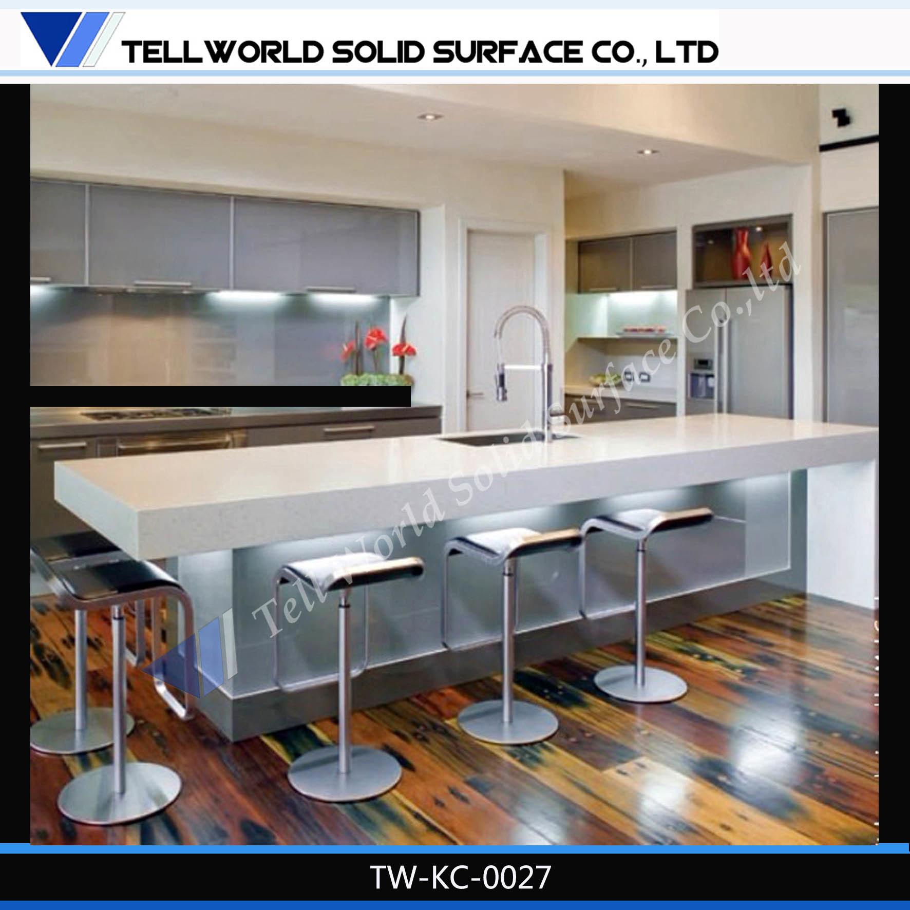 New Design High Gloss Artificial Stone Kitchen Counter Kitchen Table Kitchen Furniture Design