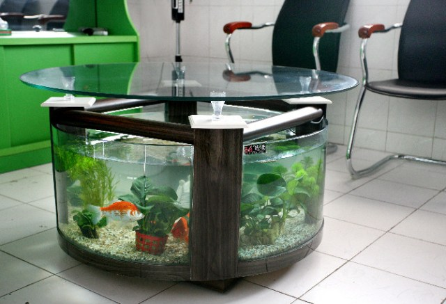 End Table Fish Tank/Rounded Tea Table Aquarium/Glass Tea Table (CJ 006