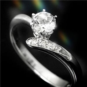 ホワイトトパーズ&ダイヤリング 指輪 3P姫リング 11号