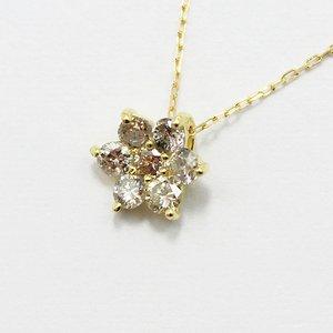 18金0.3ctブラウンダイヤモンドフラワーチャームペンダント