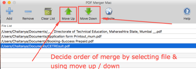 Decide the Order of Merge by Move Up / Move Down