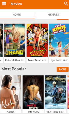 Yupp TV Movies Section Android