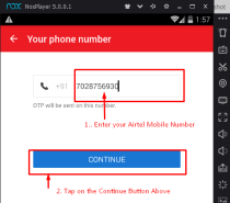 Enter your Airtel Number and tap on Continue