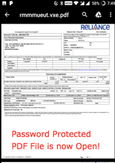 Successful access of Password protected PDF File