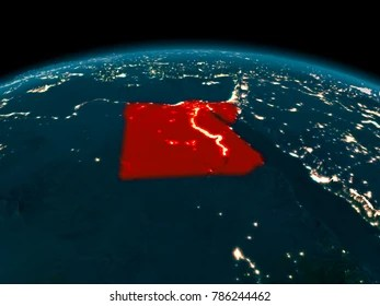 Egypt Map 3d Stock Illustrations  Images   Vectors   Shutterstock Country of Egypt in red on planet Earth at night  3D illustration  Elements  of