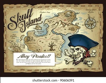 Treasure Map Images  Stock Photos   Vectors   Shutterstock Skull Island Treasure Map