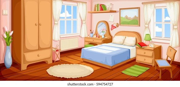 Vector Ilration Of A Bedroom Interior With Bed Nightstand Wardrobe And Windows