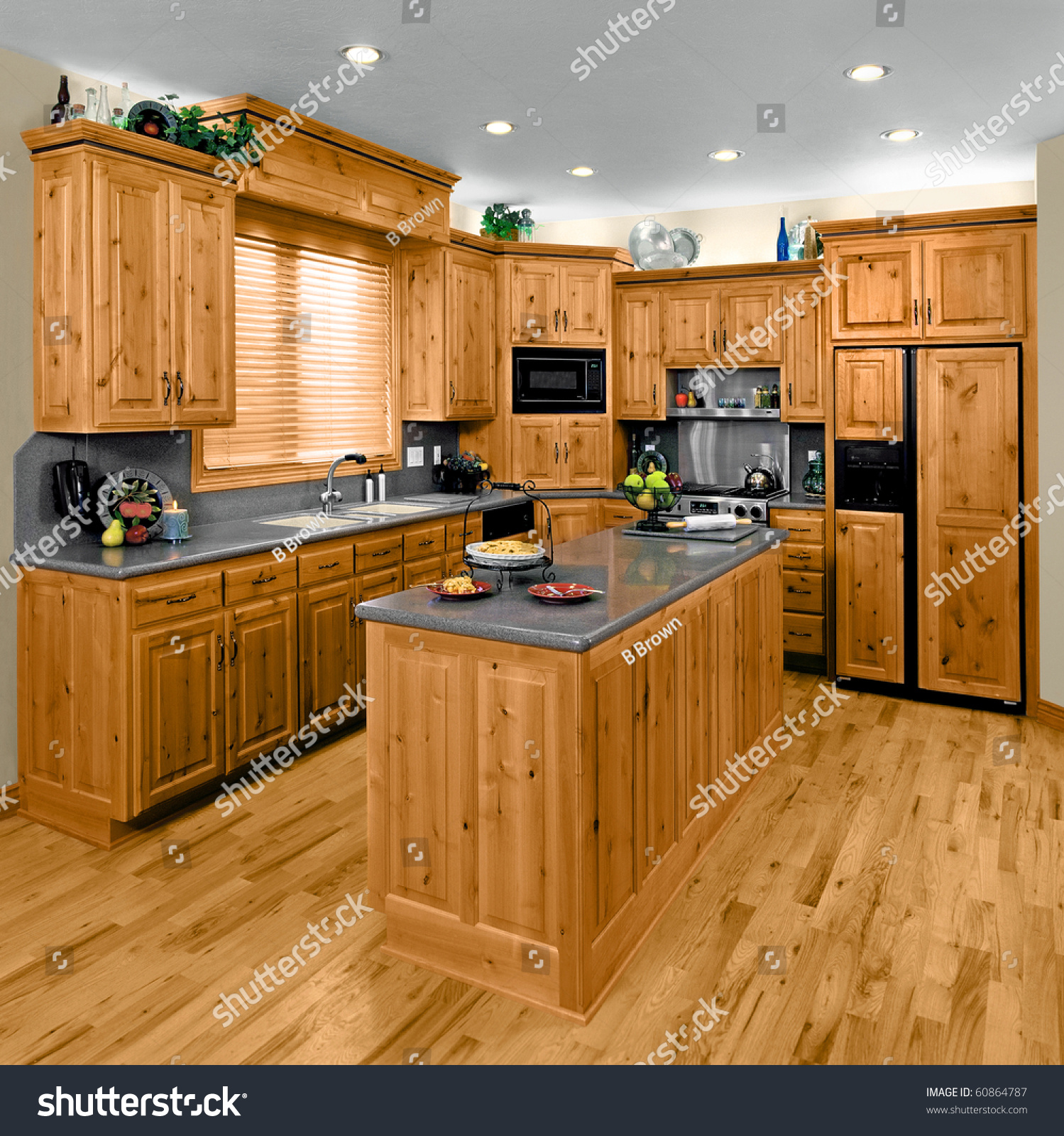 stock photo a modern residential kitchen with hickory cabinets hickory kitchen cabinets A modern residential kitchen with hickory cabinets