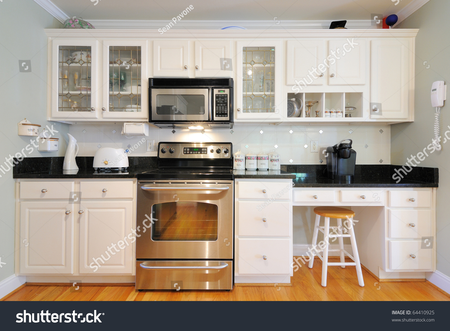 stock photo kitchen cabinets n a modern home living room 64410925