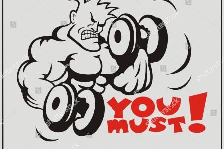 stock photo motivating illustration ybuilder with dumbbells 257728714