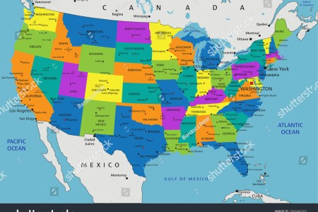 colorful united states of america political map with