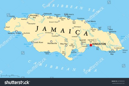 stock vector jamaica political map with capital kingston important cities and rivers english labeling and 267095933