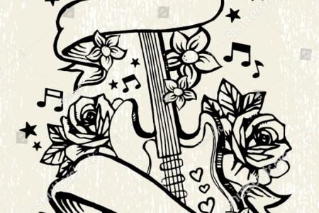 stock vector roses guitar rock roll tattoo template 256481269