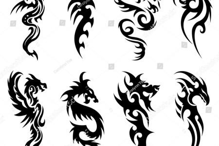 stock vector tribal tattoo snake dragon set design template 263934734