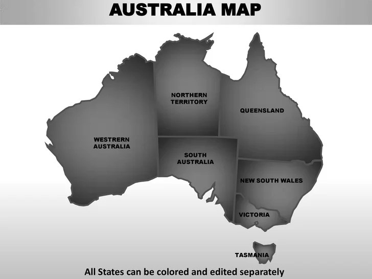 Australia editable continent map with countries     Template  3  AUSTRALIA MAP NORTHERN