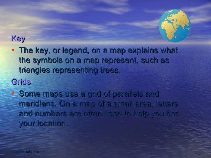 Notes on different terms of Geography Key    The key  or legend