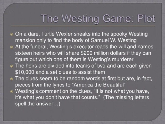 The Westing Game Chapter Summaries Games World