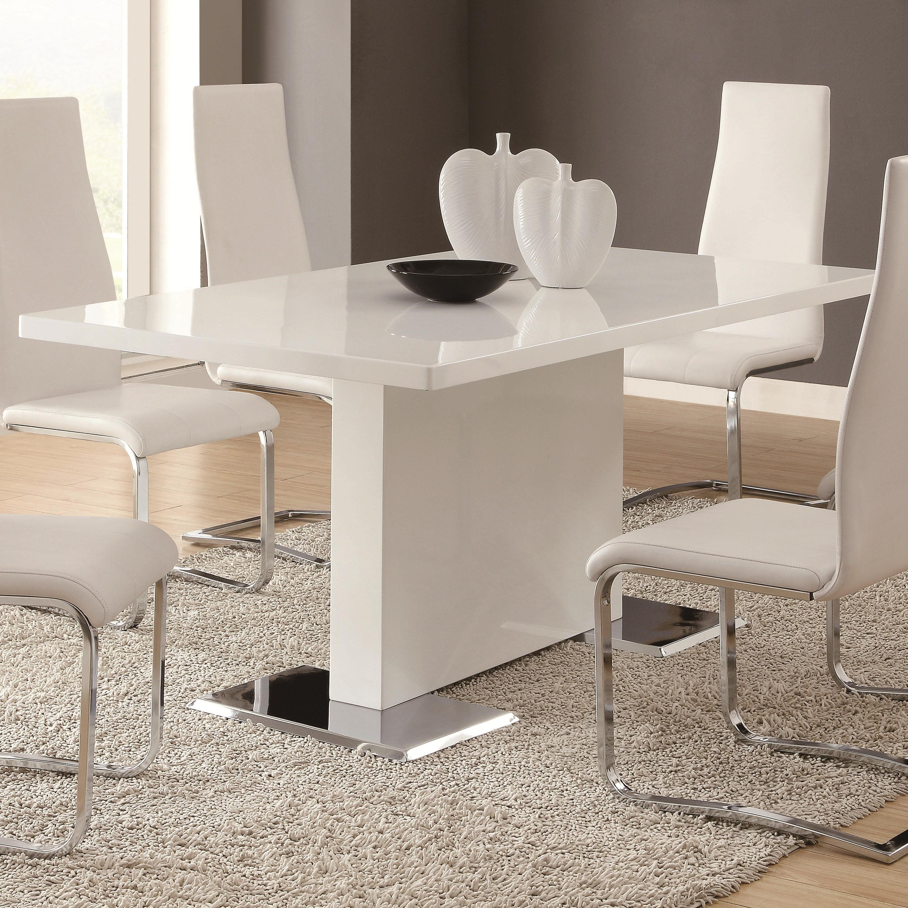 modern kitchen table Coaster Modern Dining White Dining Table with Chrome Metal Base Del Sol Furniture Dining Tables