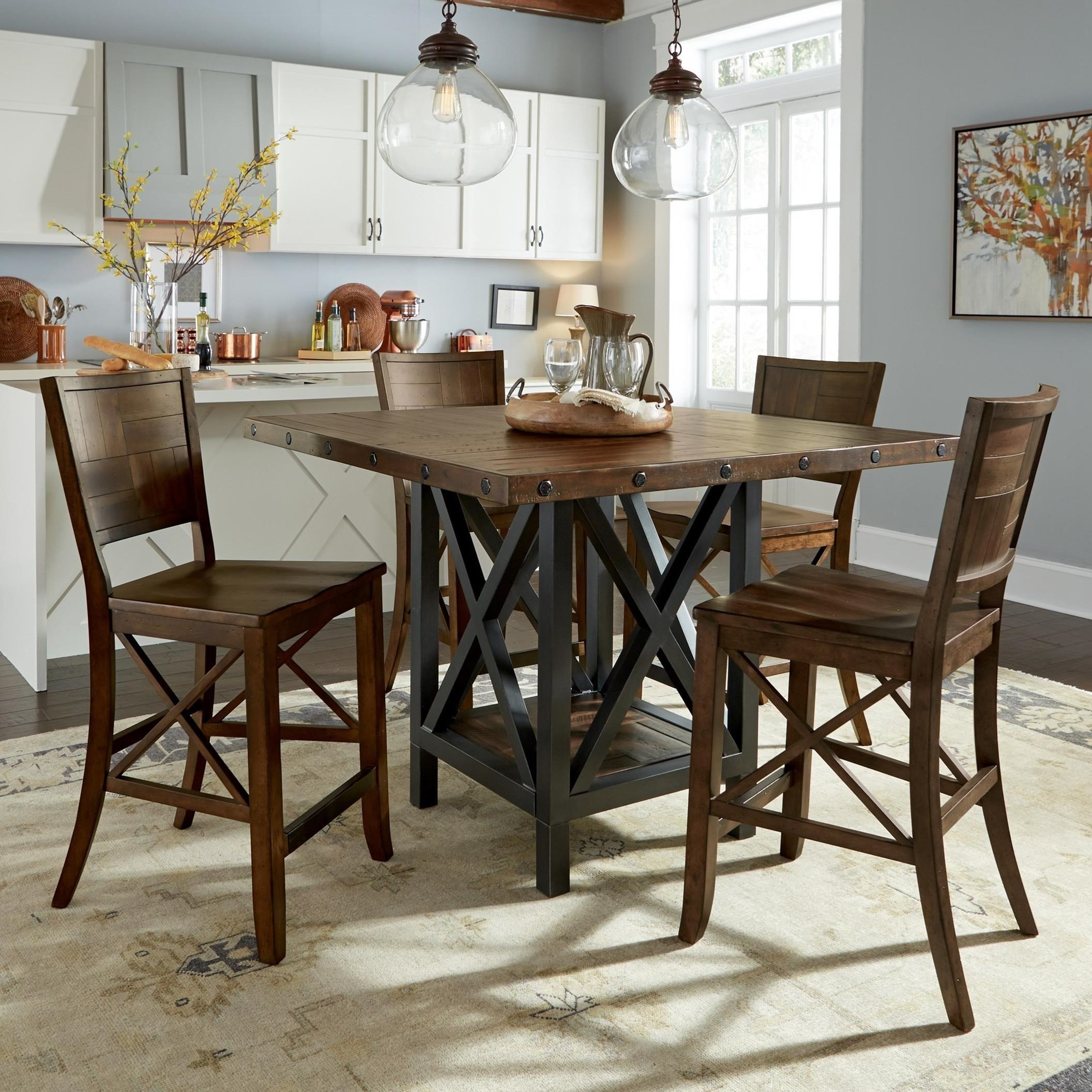 counter height kitchen chairs Flexsteel Wynwood Collection Carpenter 5 Piece Counter Height Dining Set with X Motif Olinde s Furniture Pub Table and Stool Set