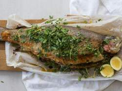 Winsome Sour Dough Thyme Verjuice Oven Baked Trout Thyme Lemon Stuffing Grilled Mountain Trout Recipes Grilled Rainbow Trout Recipes Lemon Stuffing Oven Baked Ocean Trout