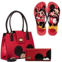 kit Bolsas Femininas Transversal Tiracolo Carla Mello Disney Mickey Minnie Com Carteira Porta Cartão e Chinelo + Kit Esponja