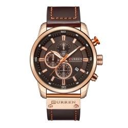 Relógio de Quartzo Curren 8291 com pulseira de couro